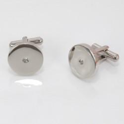 Bouton de manchette homme zirconium acier